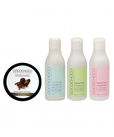 Original Brazilian Keratin 100ml + Clarifying Shampoo + Sulphate-Free Shampoo + Professional Conditioner 150ml COCOCHOCO